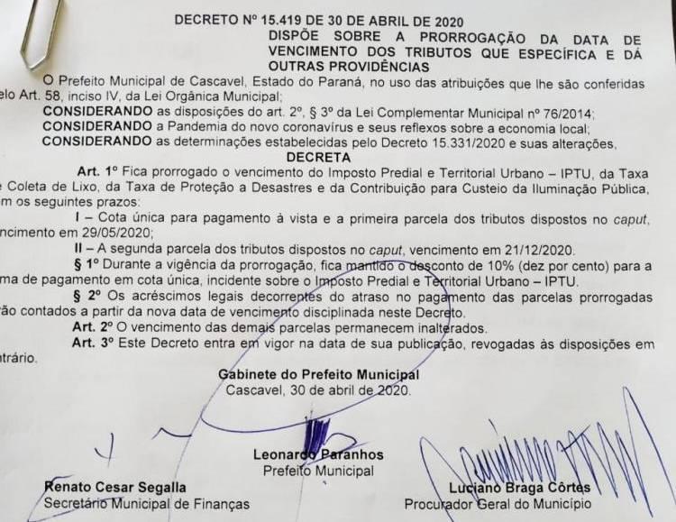 Vencimento do IPTU e Taxa de Coleta de Lixo é prorrogado mais uma vez em Cascavel