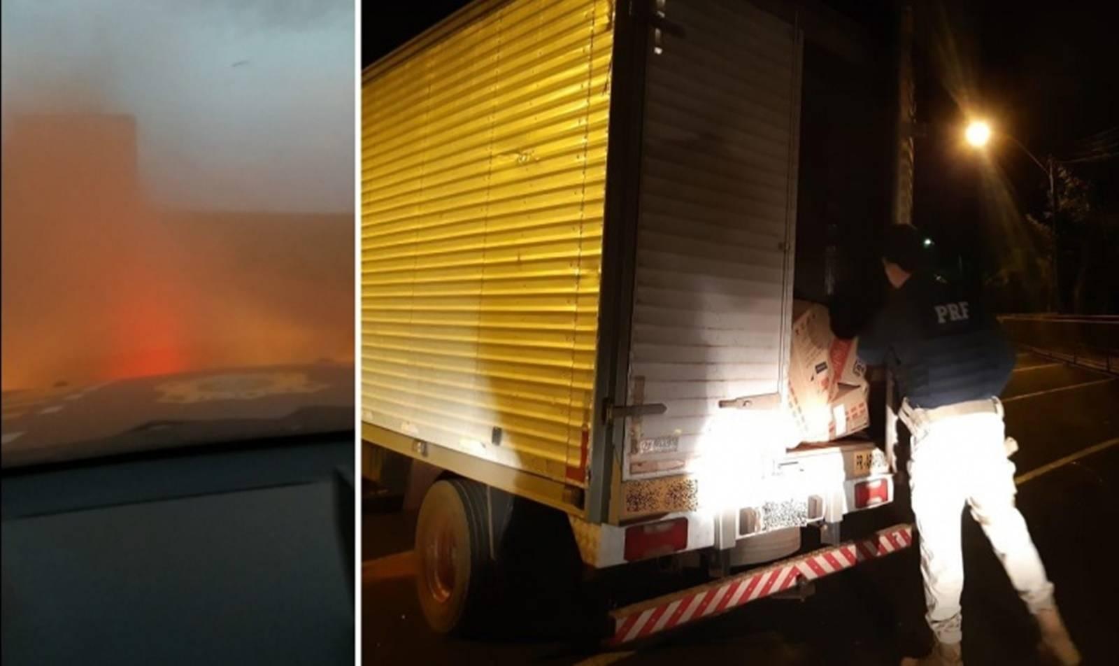 PRF apreende 125 mil carteiras de cigarro em caminhão com lançador de fumaça no Paraná