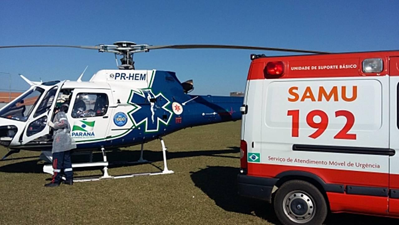 Helicóptero do Consamu realiza transferência de idoso em Marechal Cândido Rondon