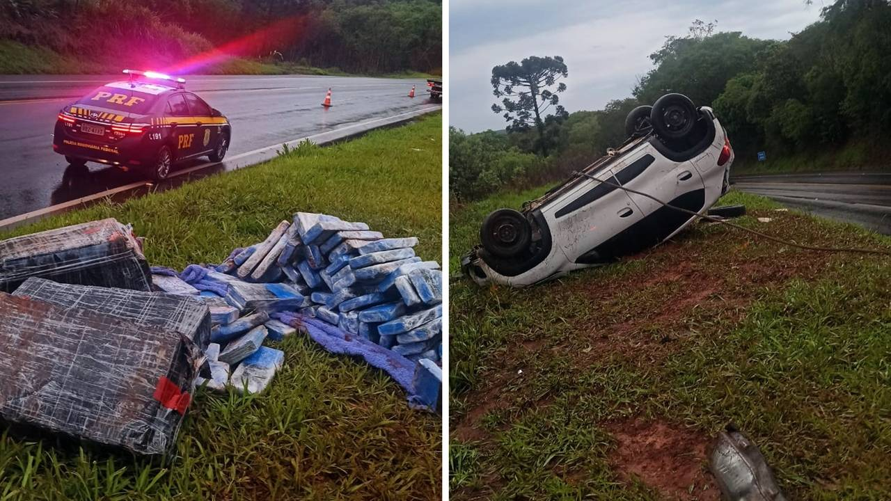 Carro carregado com tabletes de maconha capota na BR-277; Motorista evadiu do local