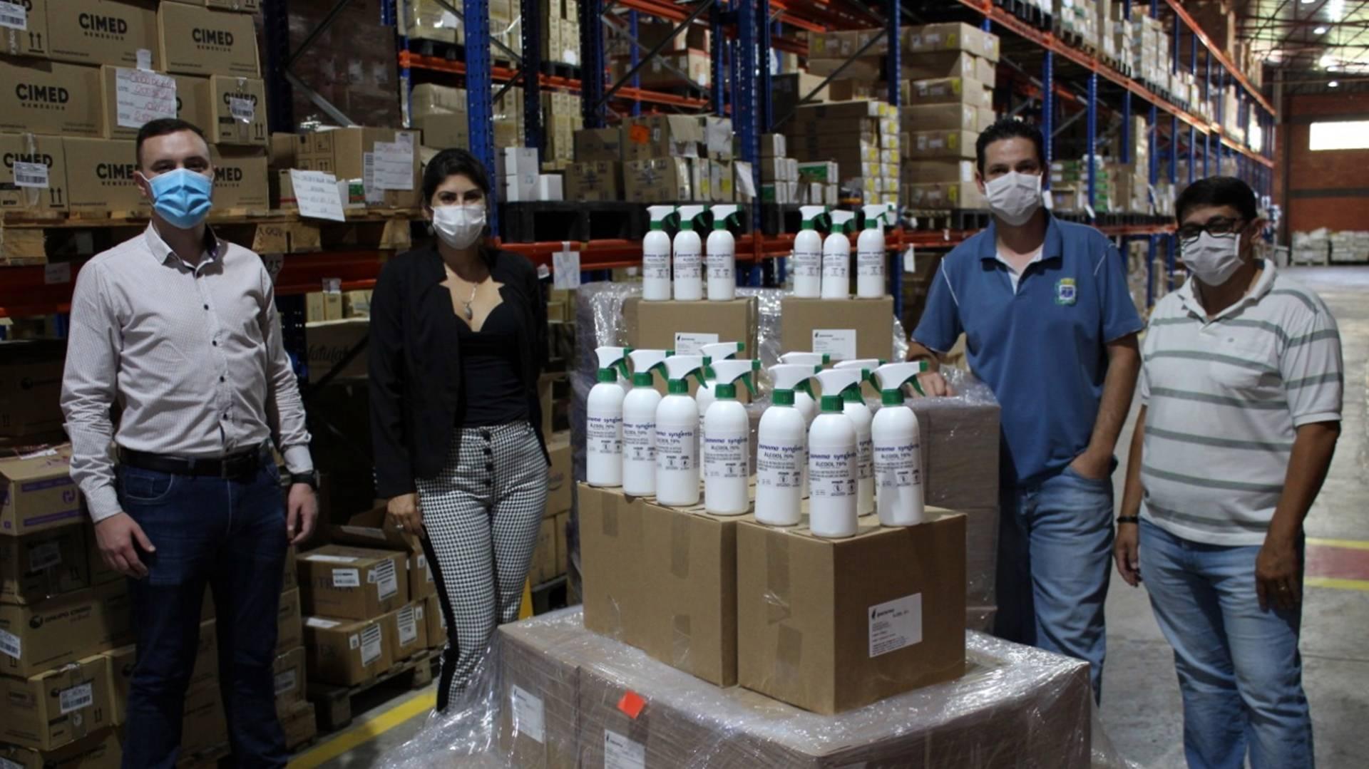 Mais de 3 mil frascos de álcool líquido 70% são doados à Secretaria de Saúde