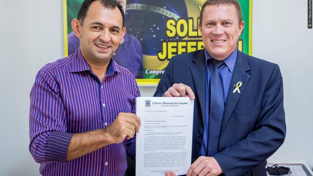 Soldado Jeferson solicita recursos à deputado para compra de dois veículos
