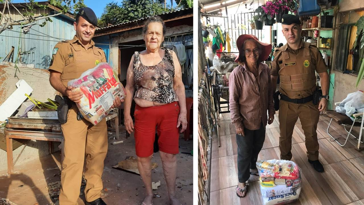 Policiais Militares realizam doação de duas cestas básicas no Bairro Melissa