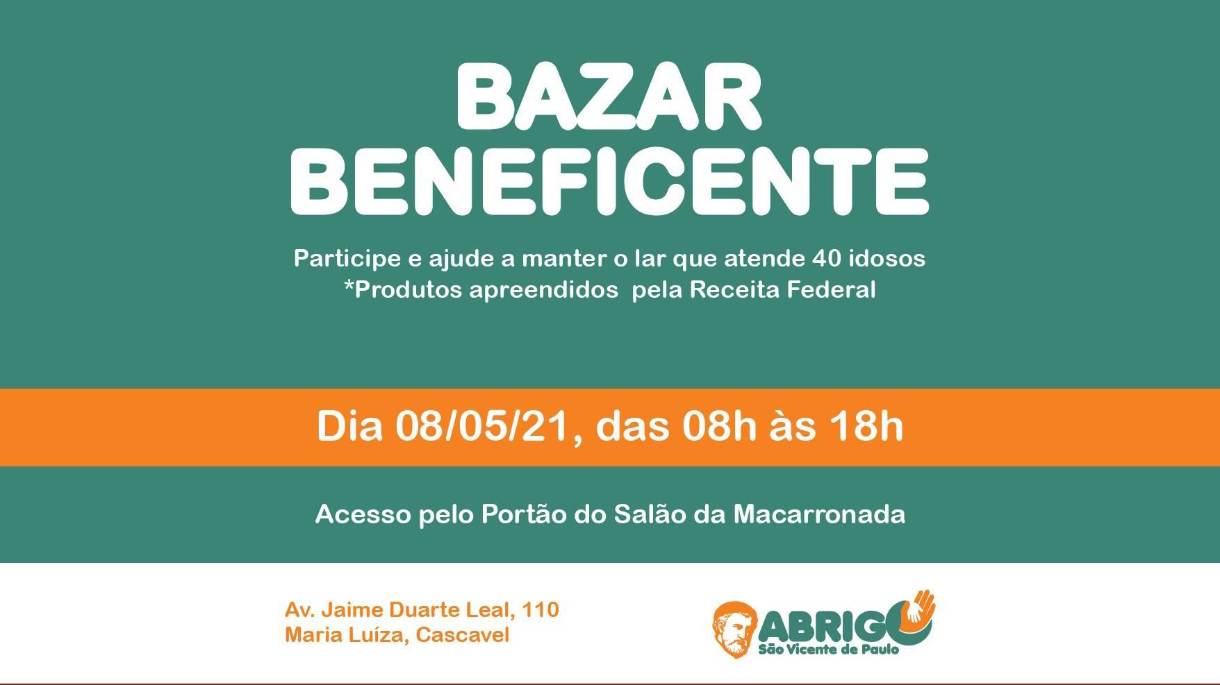 Bazar Beneficente será realizado para ajudar Abrigo São Vicente de Paulo