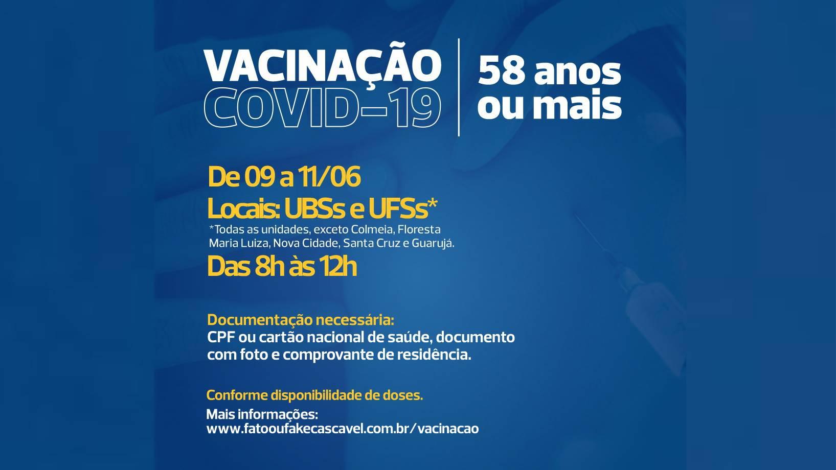 Público geral: Cascavel vai vacinar pessoas com 58 anos completos ou mais contra a Covid