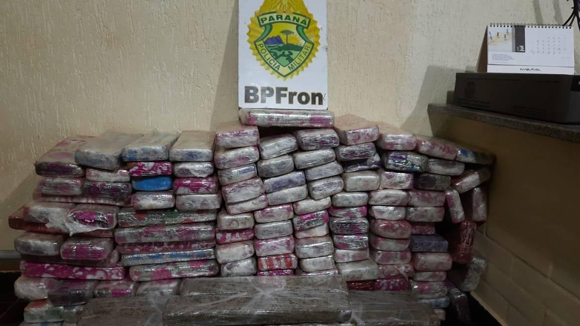 BPFRON apreende 100 kg de maconha em Capitão Leônidas Marques