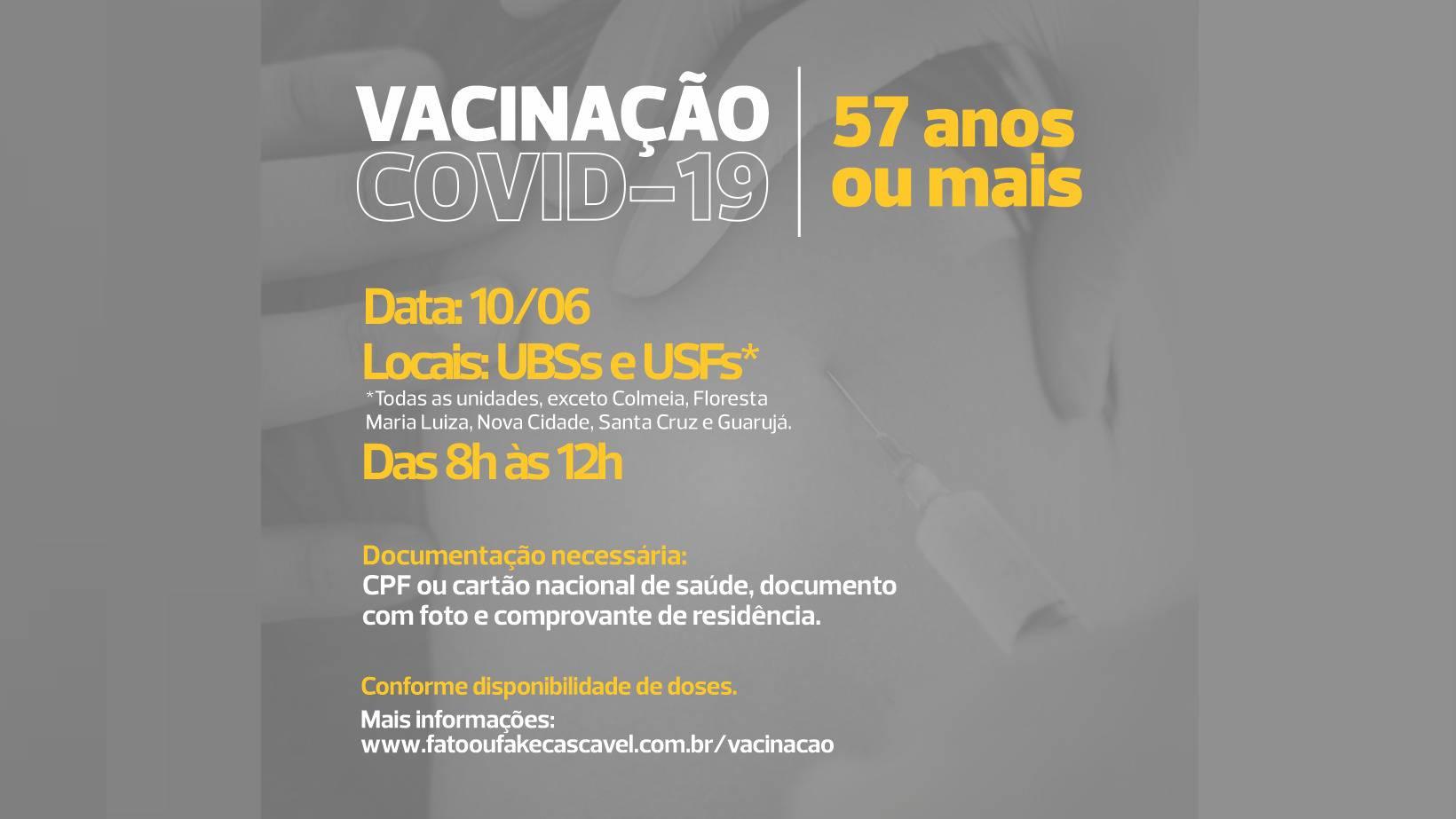 Cascavel amplia vacinação contra a Covid-19 para pessoas com 57 anos completos ou mais