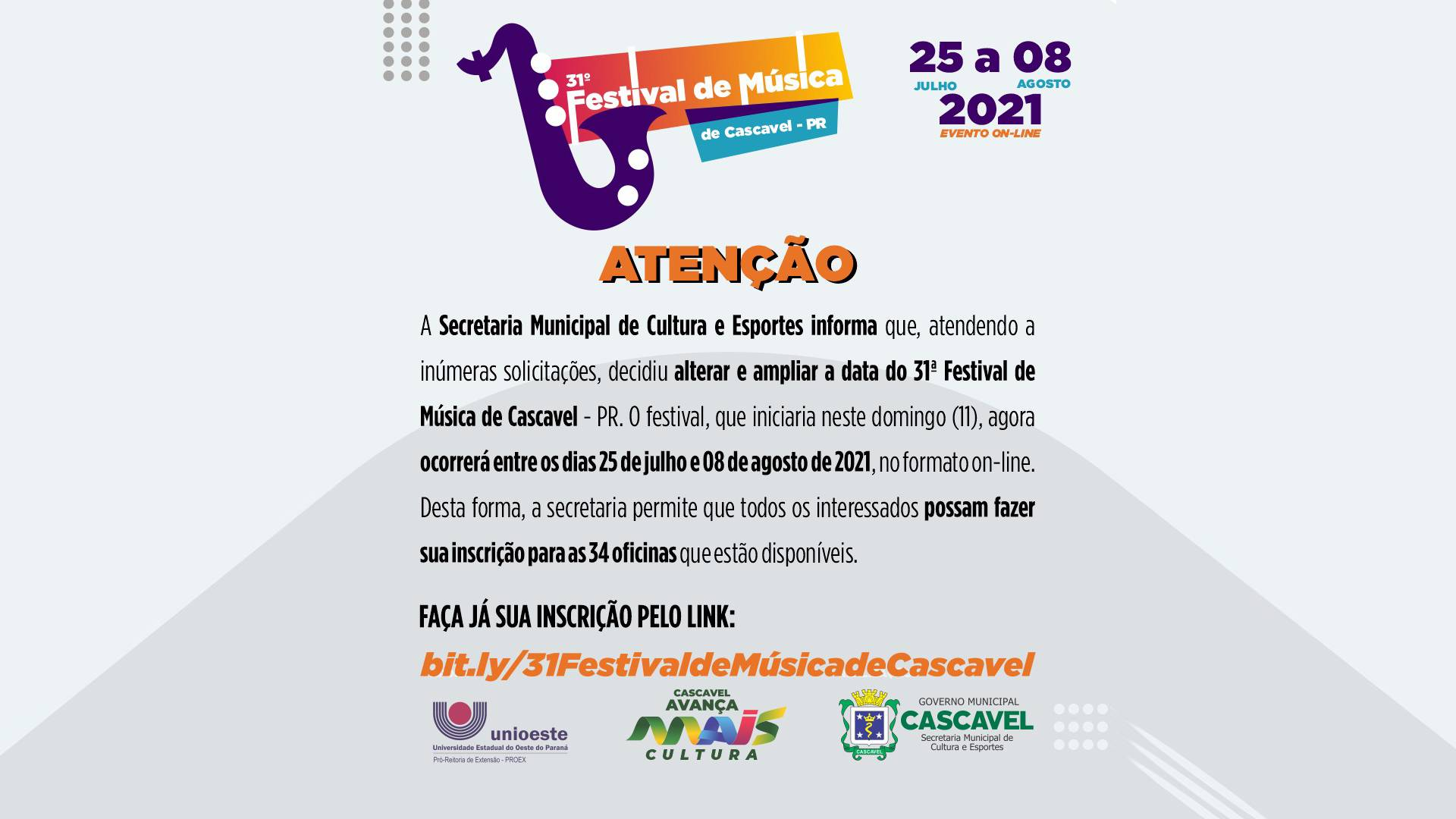 Secretaria Municipal de Cultural altera data do Festival de Música