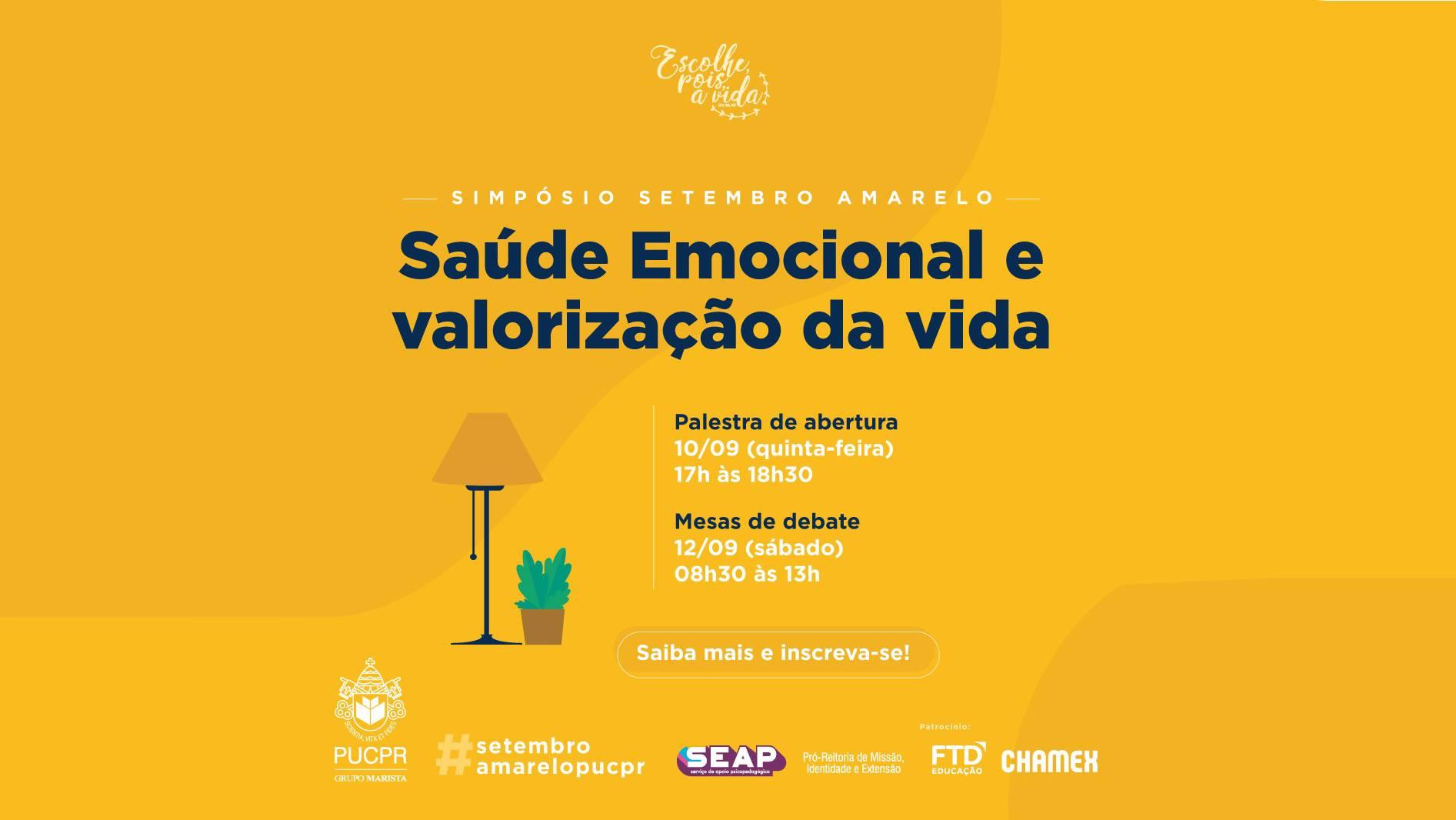 Setembro Amarelo: PUCPR promove evento online para debater saúde mental em tempos de pandemia