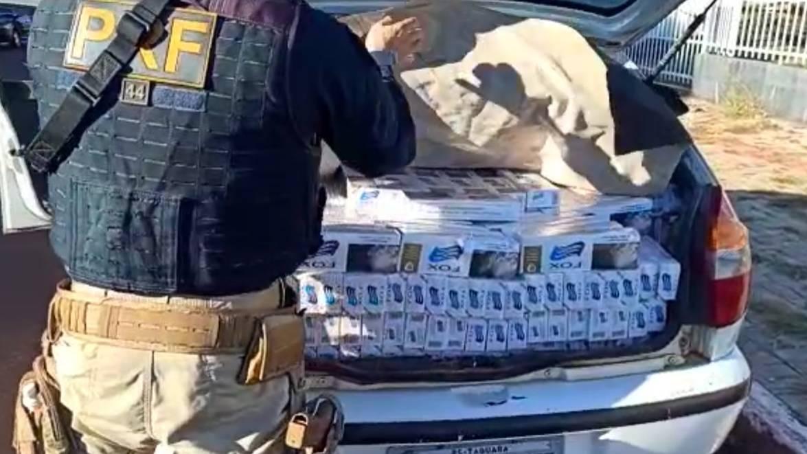 PRF apreende cinco mil maços de cigarros em Santa Tereza do Oeste