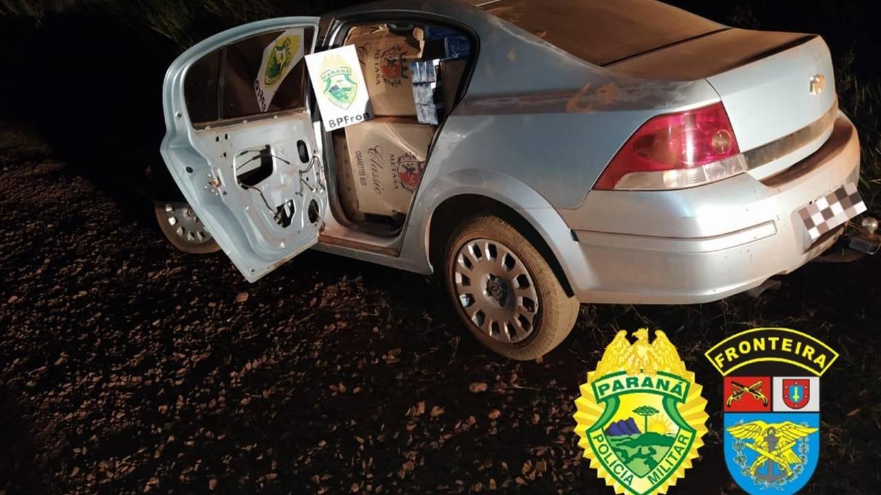 BPFron: veículo carregado com cigarros contrabandeados é apreendido na cidade de Guaíra