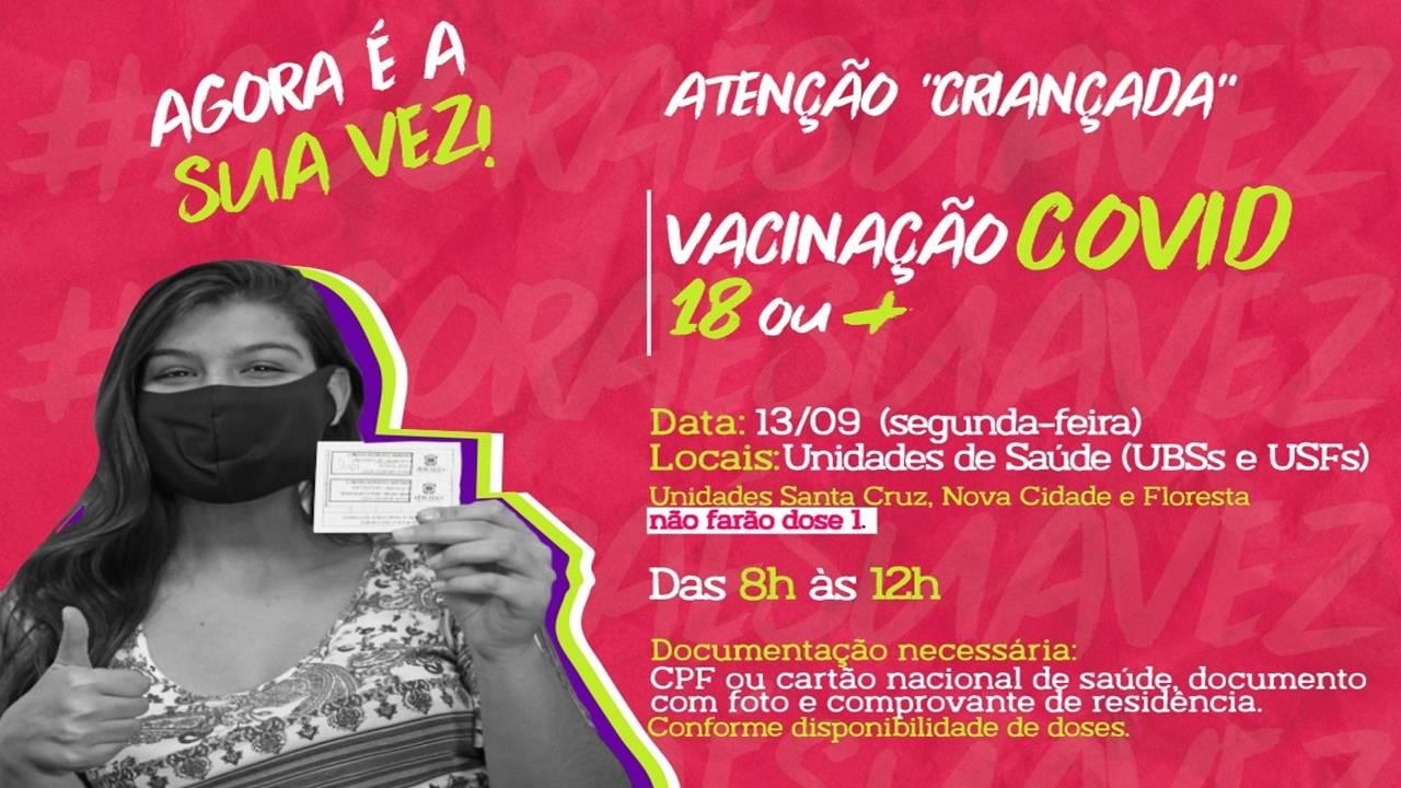 Cascavel vacina jovens de 18 anos ou mais nesta segunda-feira (13)