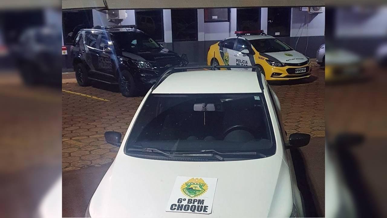 Saveiro é roubada na Avenida da FAG; PM age rápido e recupera veiculo na PR-486 com dois detidos