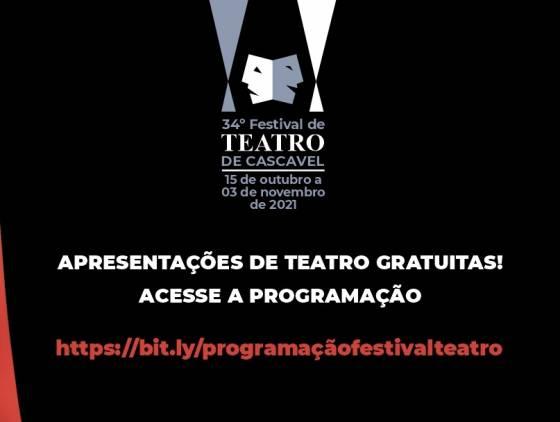 34º Festival de Teatro de Cascavel inicia nesta sexta-feira com apresentações e oficinas gratuitas