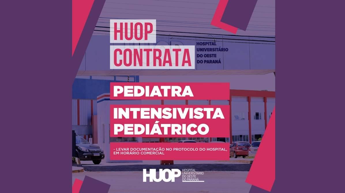 Hospital Universitário contrata médico pediatra e intensivista pediátrico