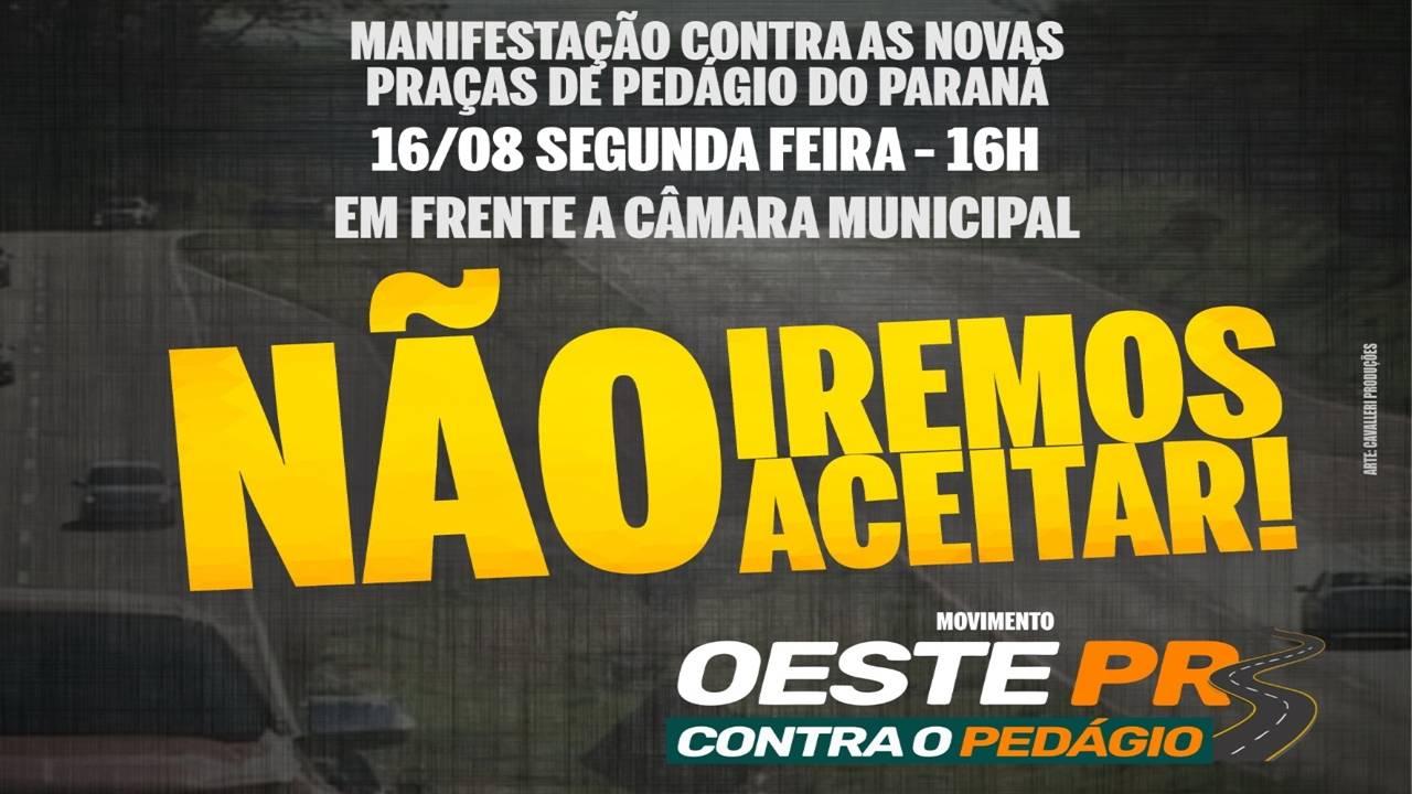 Movimento contra o pedágio entre Cascavel e Toledo marca manifestação para esta segunda-feira