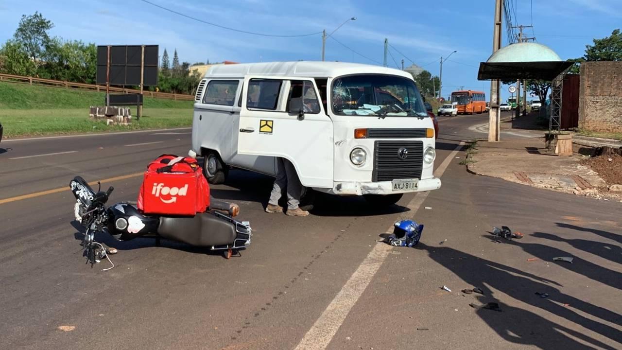 Motociclista sofre TCE grave após colisão de trânsito na marginal da BR-277 em Cascavel