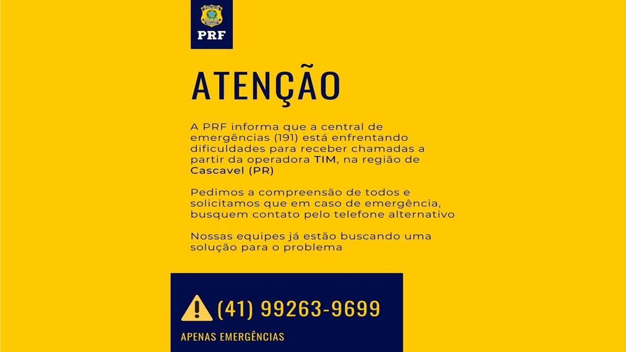 """Central de emergência da PRF Cascavel """"191"""" está com problemas para receber chamadas da TIM"""