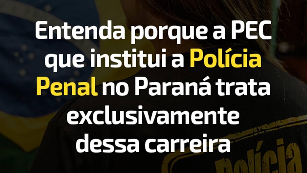 Entenda porque a PEC que institui a Polícia Penal no Paraná trata exclusivamente dessa carreira
