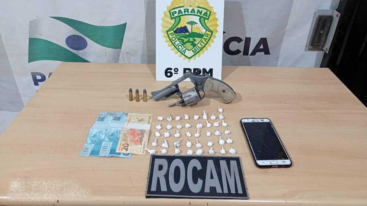 Homem é preso com 41 buchas de cocaína e um revólver cal. 38 na região central de Cascavel