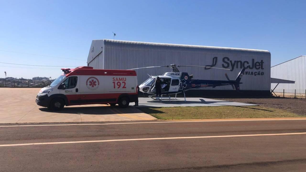 Aeromédico transporta paciente de Cascavel vítima de queimadura a Londrina