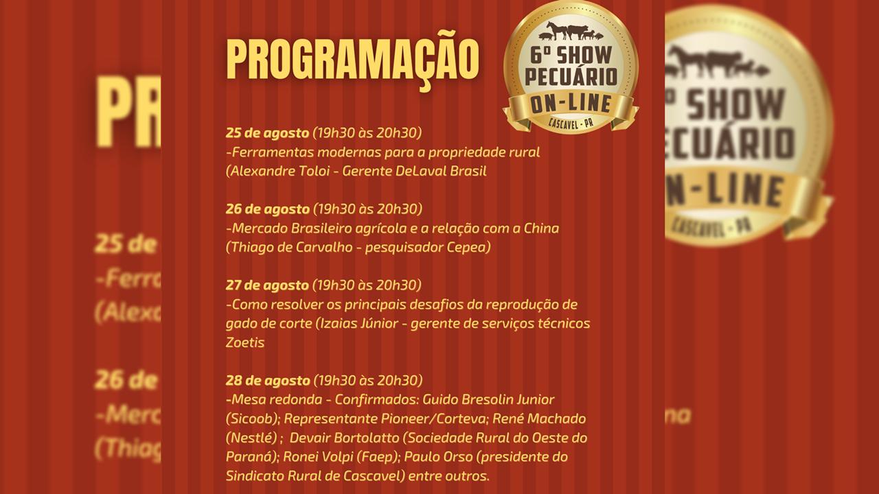 Grandes palestras marcarão Show Pecuário On-line