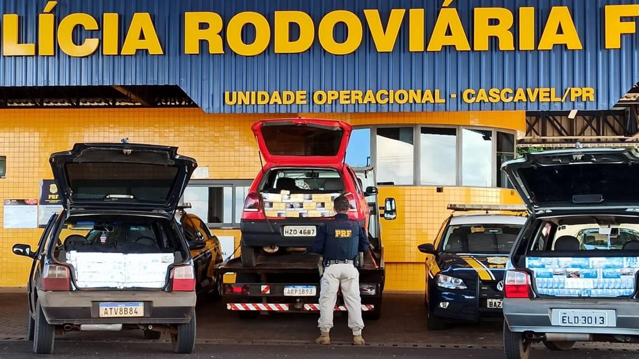 PRF apreende veículos carregados com cigarros no Paraná
