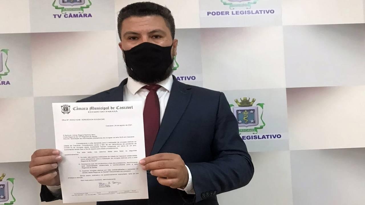 Edson Souza pede informações à Regional de Saúde sobre fila das cirurgias eletivas