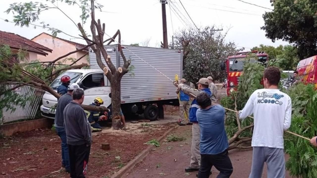 Veículo desgovernado atinge árvore e prensa motorista em Toledo