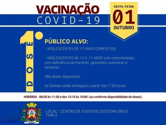 Corbélia inicia imunização de adolescentes acima de 17 anos