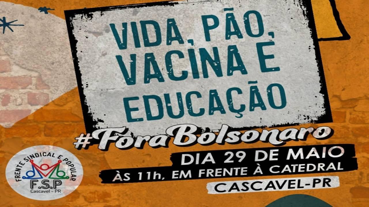 Frente Popular e Sindical promove Ato pela Vida neste sábado (29)