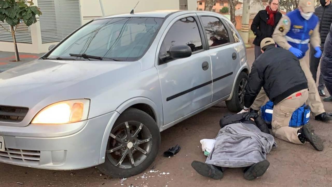 Motociclista fica ferido após colisão de trânsito no Jardim Gramado em Cascavel