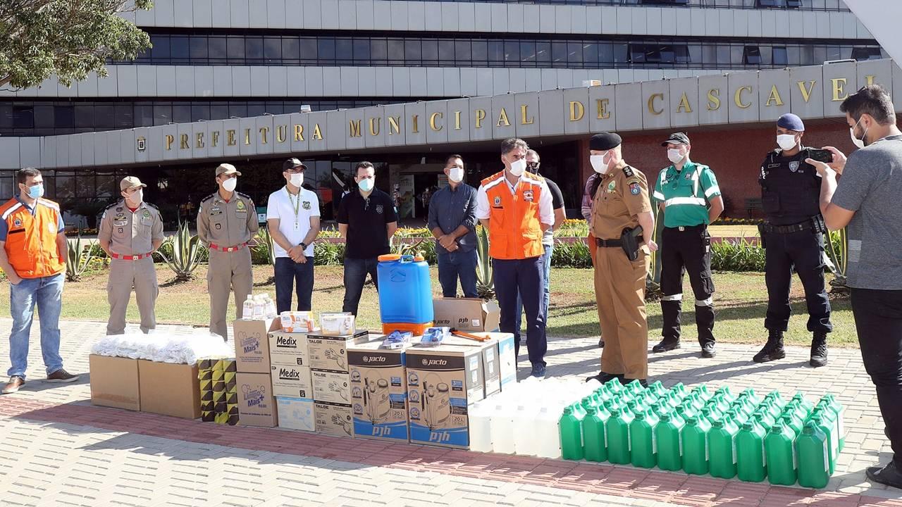 Cascavel recebe doação de EPIs para uso das forças de segurança