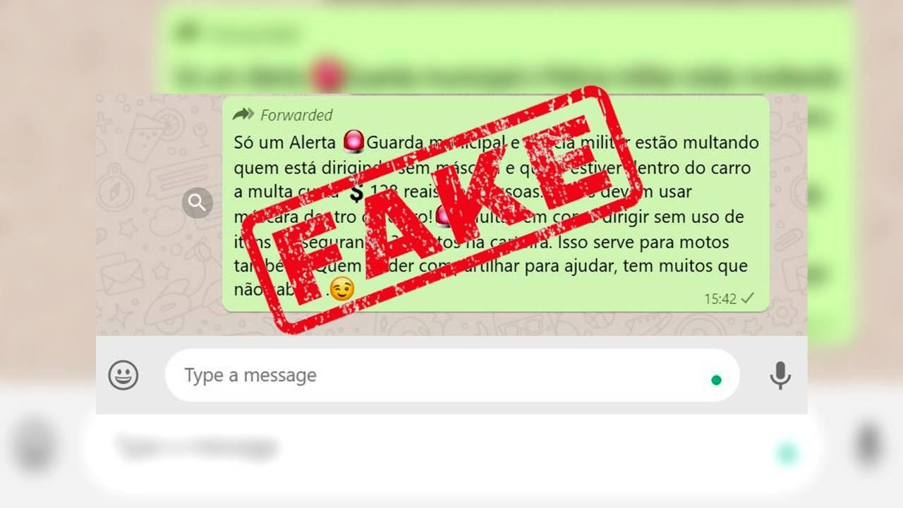 É Fake News a mensagem que rende multa de trânsito a falta de máscara