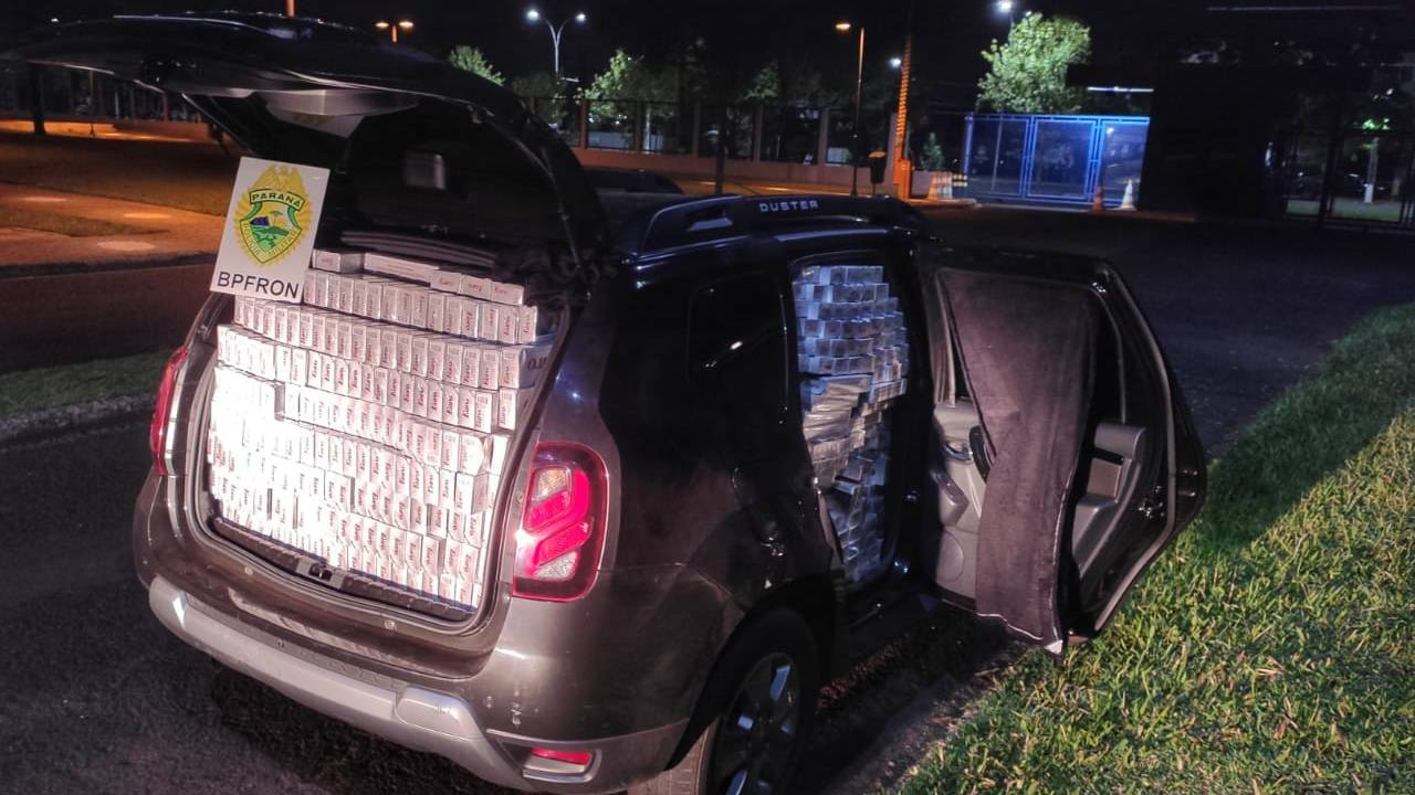 BPFRON apreende carro carregado com cigarros contrabandeados em São Miguel do Iguaçu