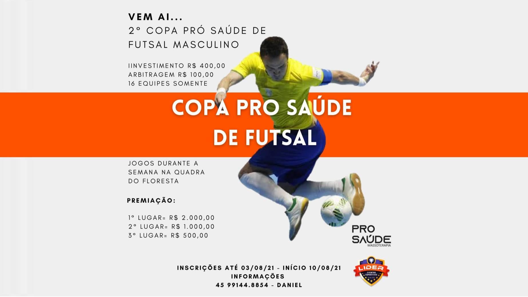 Estão abertas as inscrições da 2ª Copa Pro Saúde de Futsal