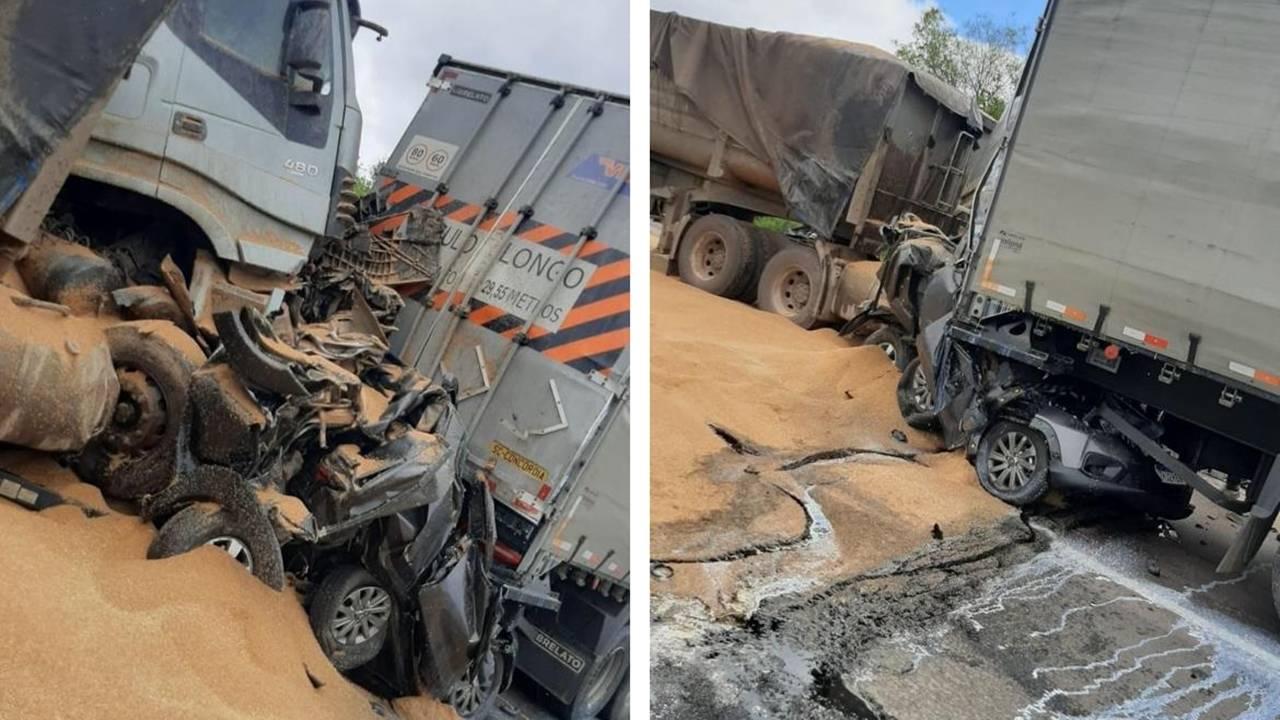 Carros são esmagados em engavetamento na Rodovia do Xisto na RMC; 11 feridos e 2 mortos