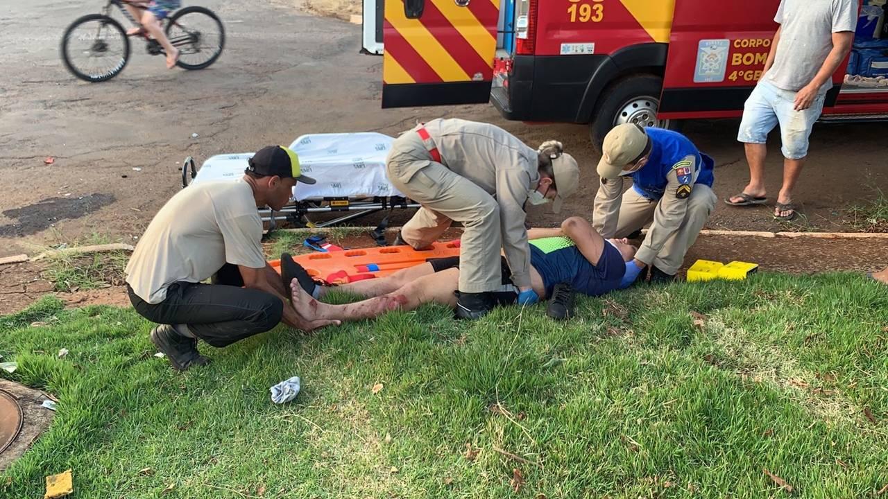 Motociclista fica ferido após colisão de trânsito no Bairro Brasília