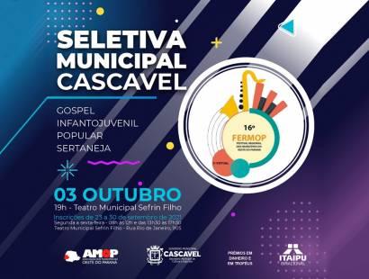 Secretaria de Cultura e Esportes abre inscrições às audições seletivas de Cascavel para a 16ª Fermop